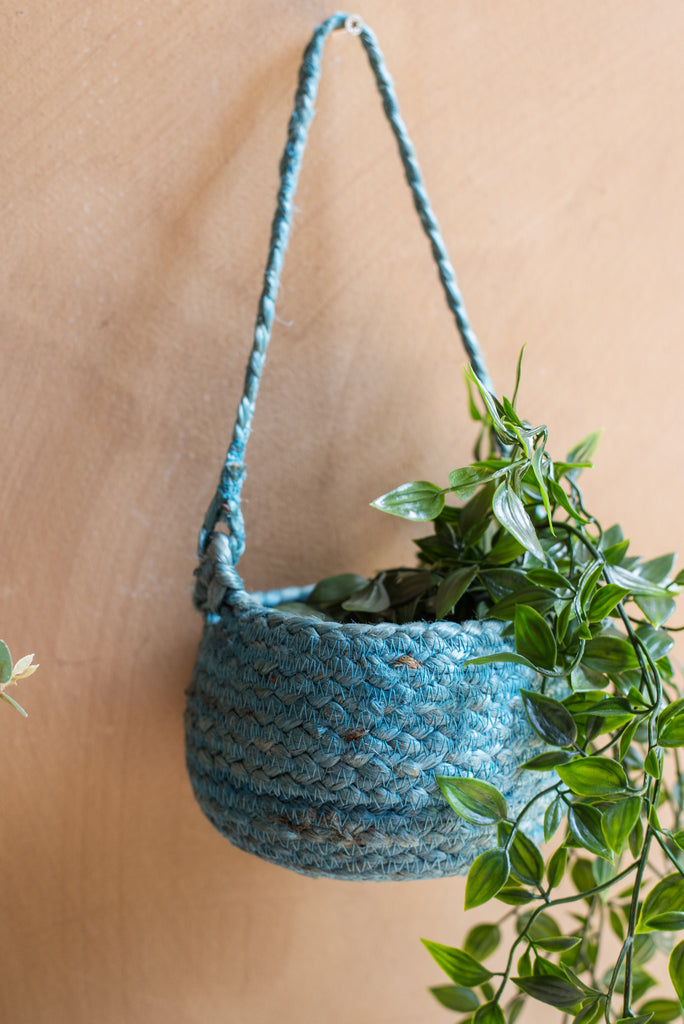 Denim Jute Hanging Basket