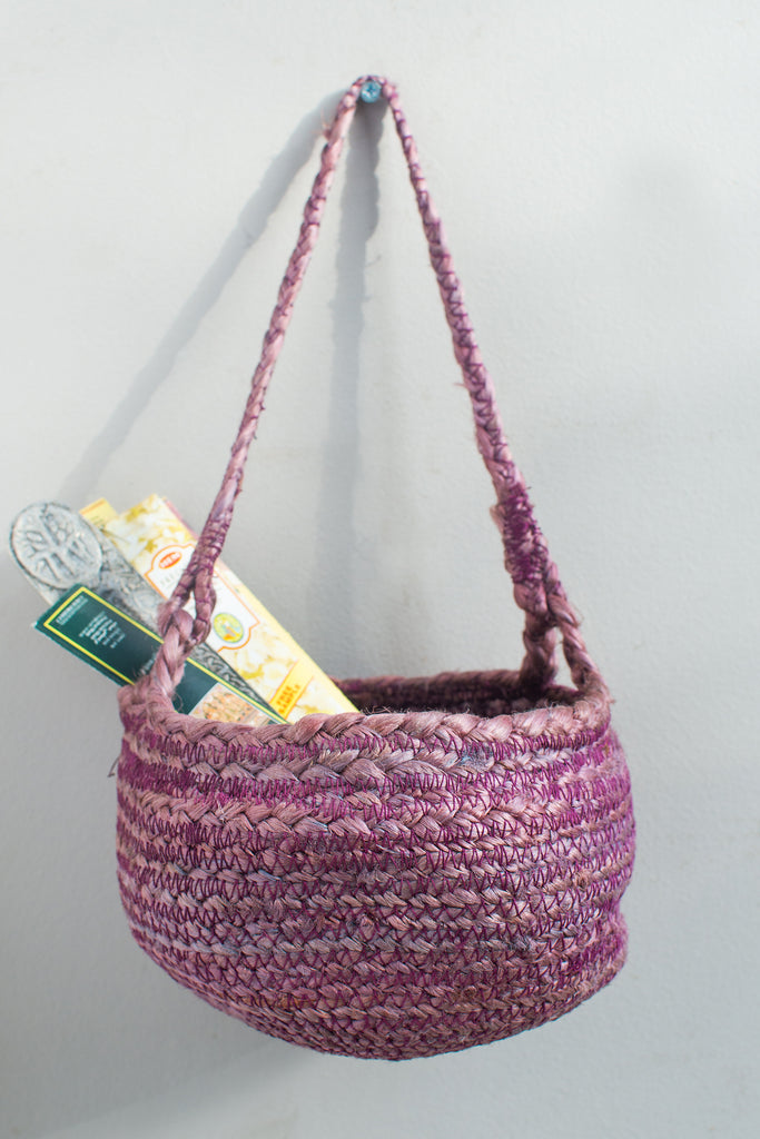 Burgundy Jute Hanging Basket