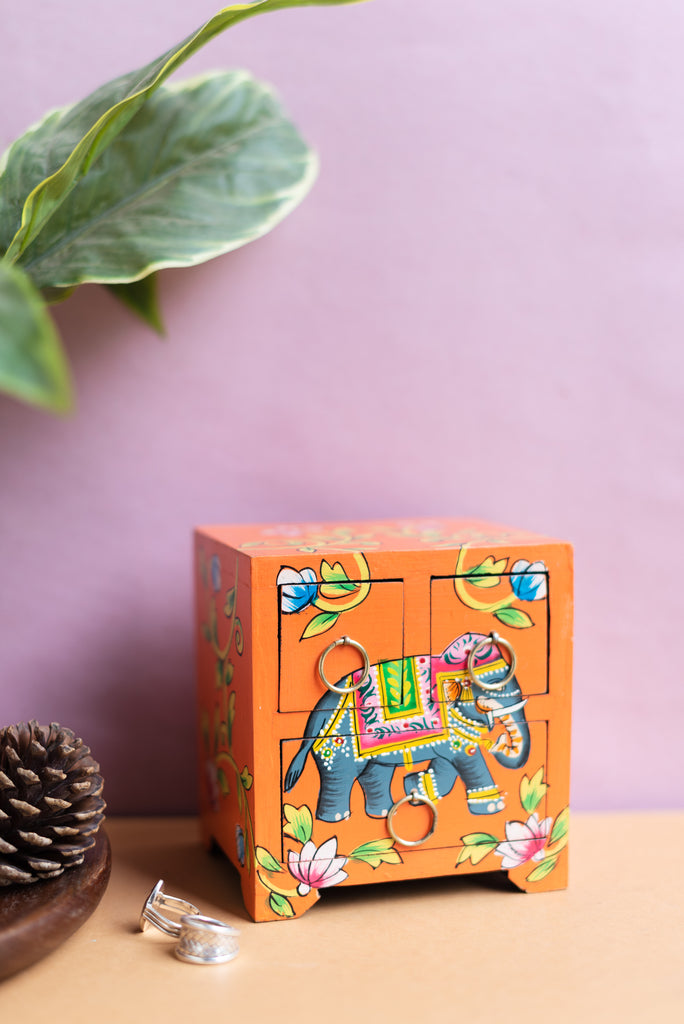 Orange Elephant Hand Painted Wooden Chest