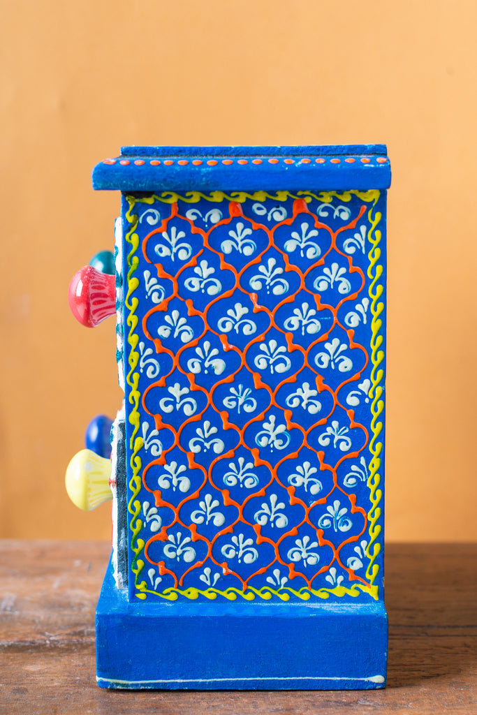 Blue Wooden Spice Box