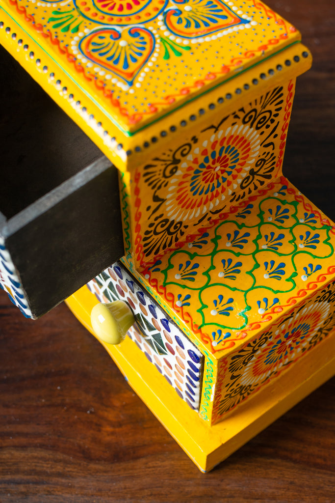 Yellow Wooden Spice Box