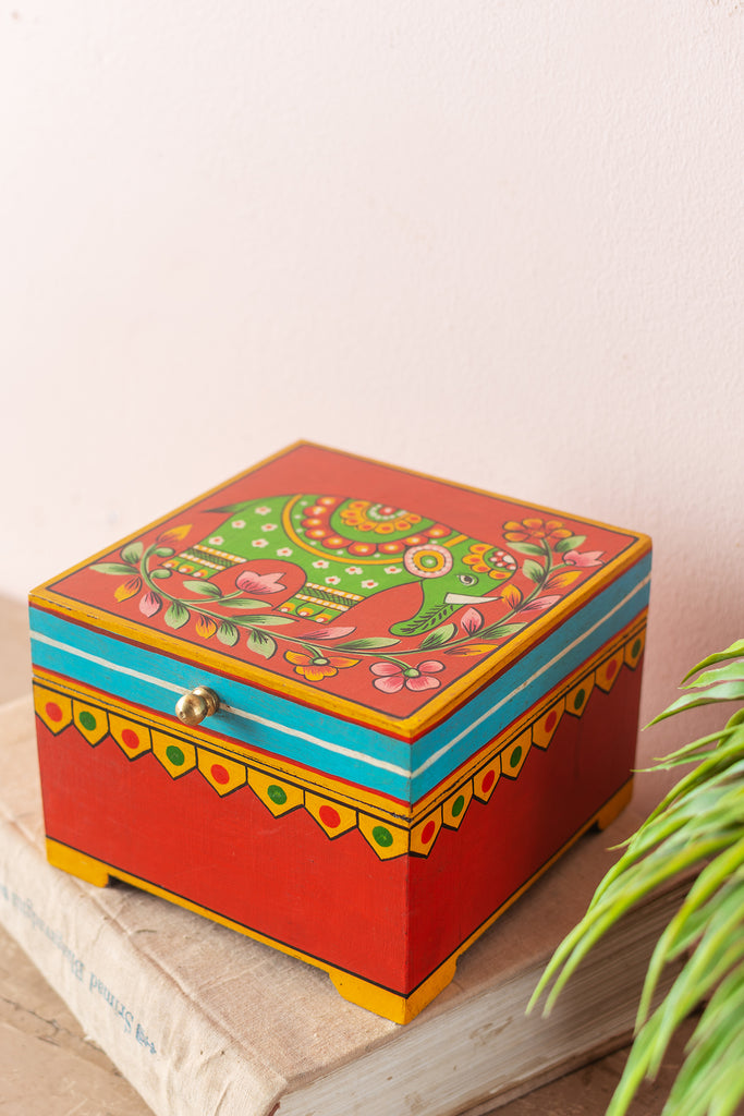 Red Elephant Hand Painted Wooden Box