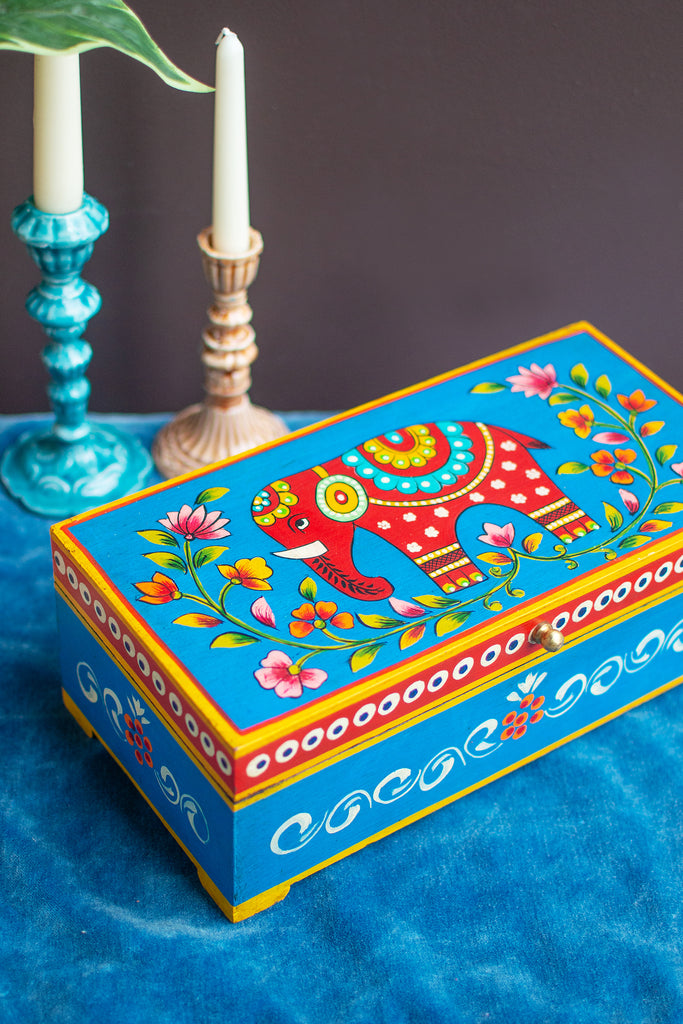 Blue Elephant Hand Painted Wooden Box
