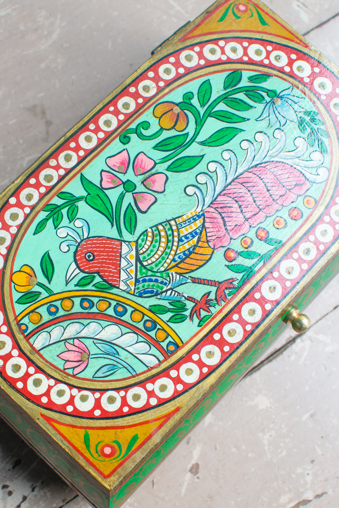 Peacock Hand Painted Wooden Box