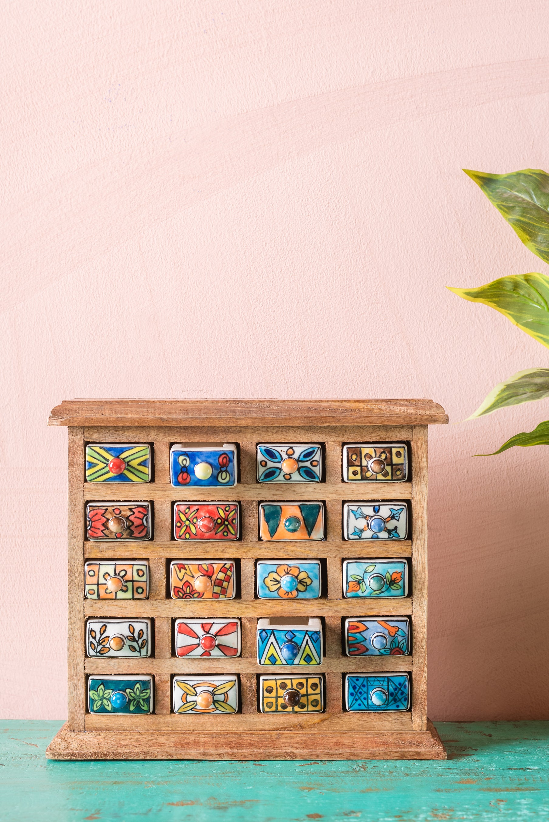 Wooden Chest with 20 Ceramic Drawers