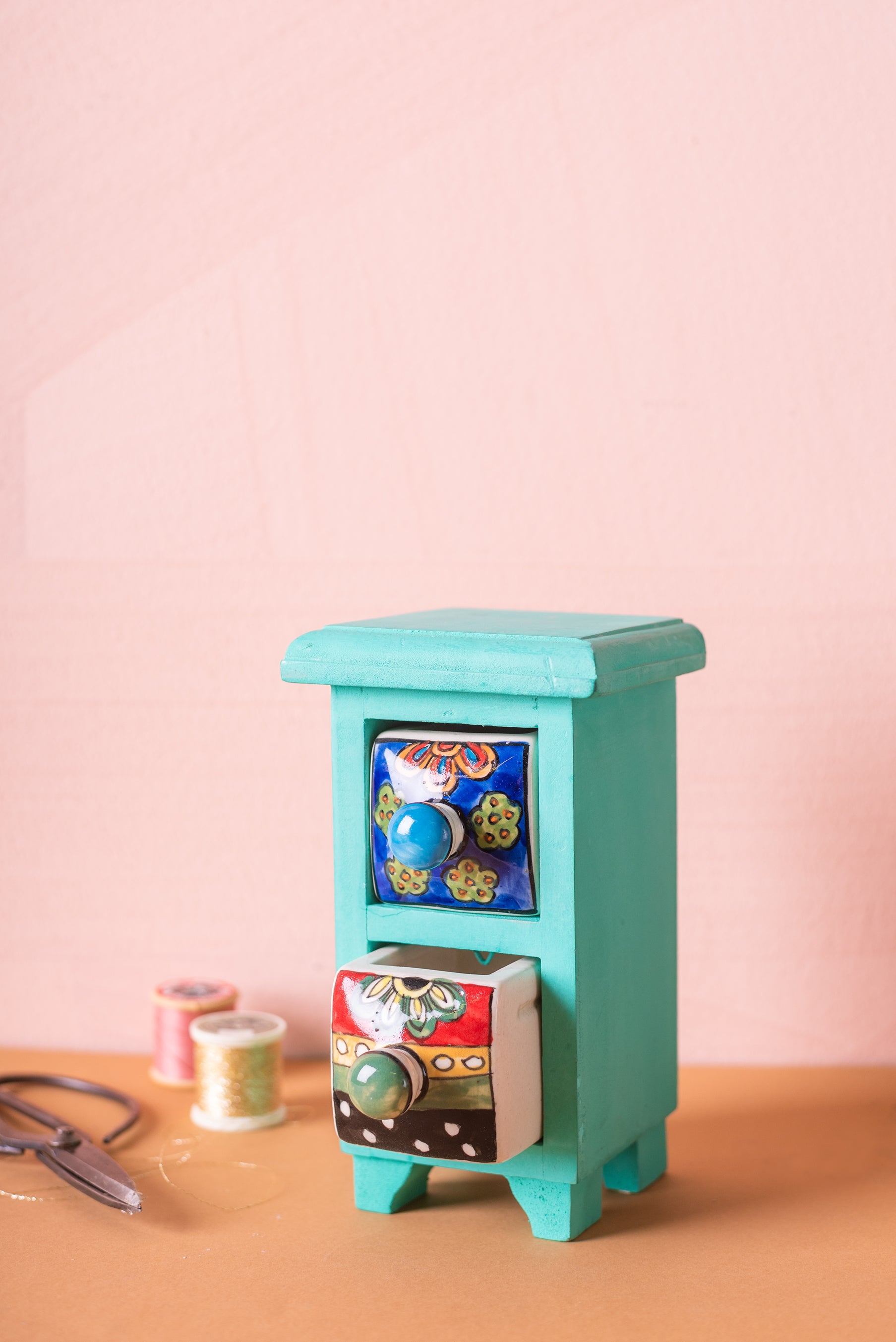 Turquoise Wooden Chest with 2 Ceramic Drawers
