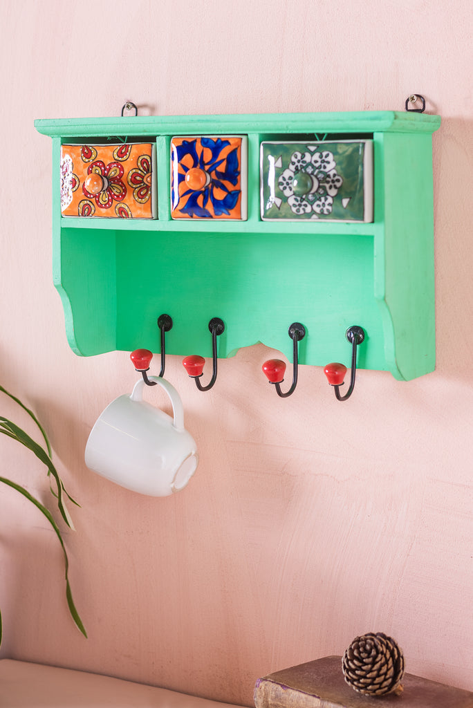 Green Wooden Spice Rack with Drawers and Hooks