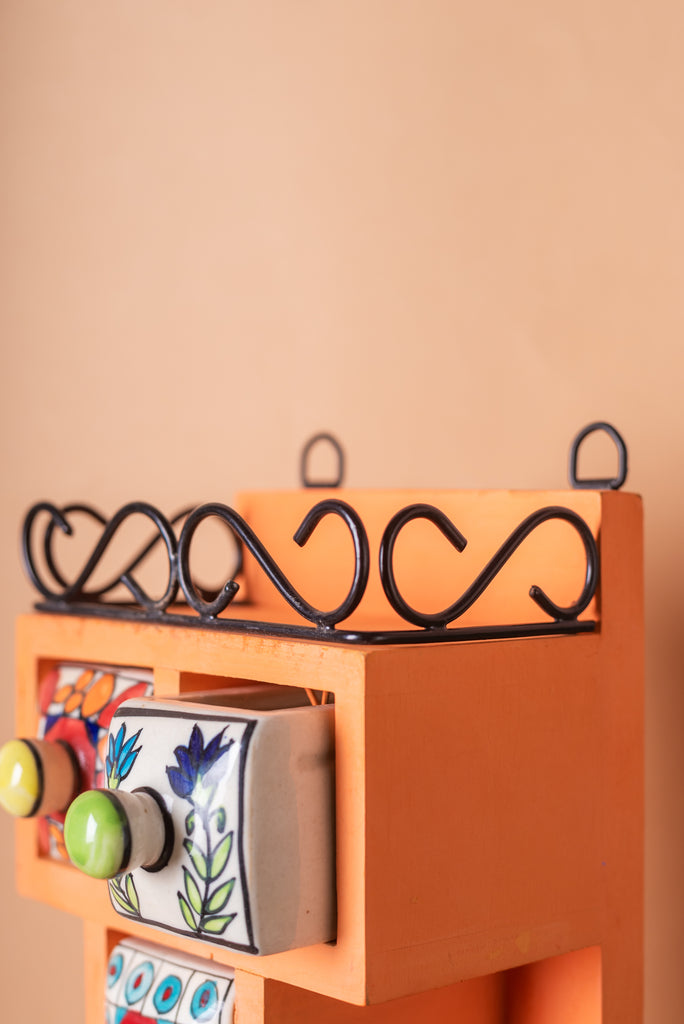 Orange Wooden Spice Rack with Jars, Drawers and Hook