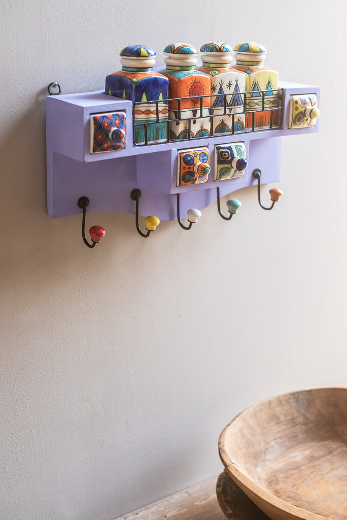Purple Wooden Spice Rack with Jars, Drawers and Hooks