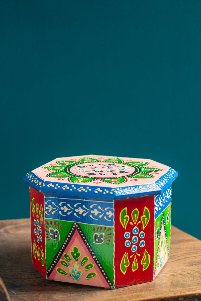 Octagonal Hand Painted Wooden Box