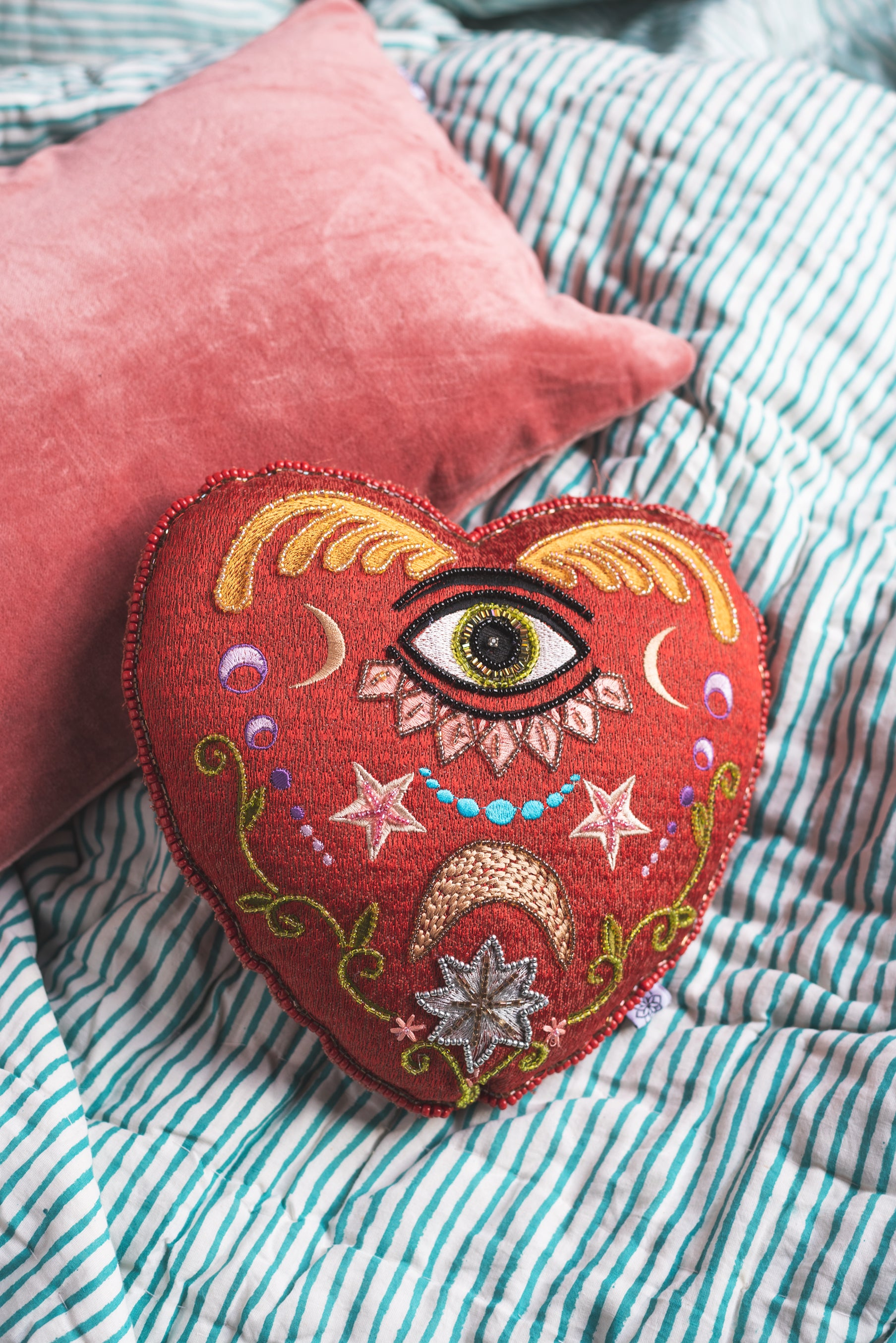 Red Heart Embroidered Cushion
