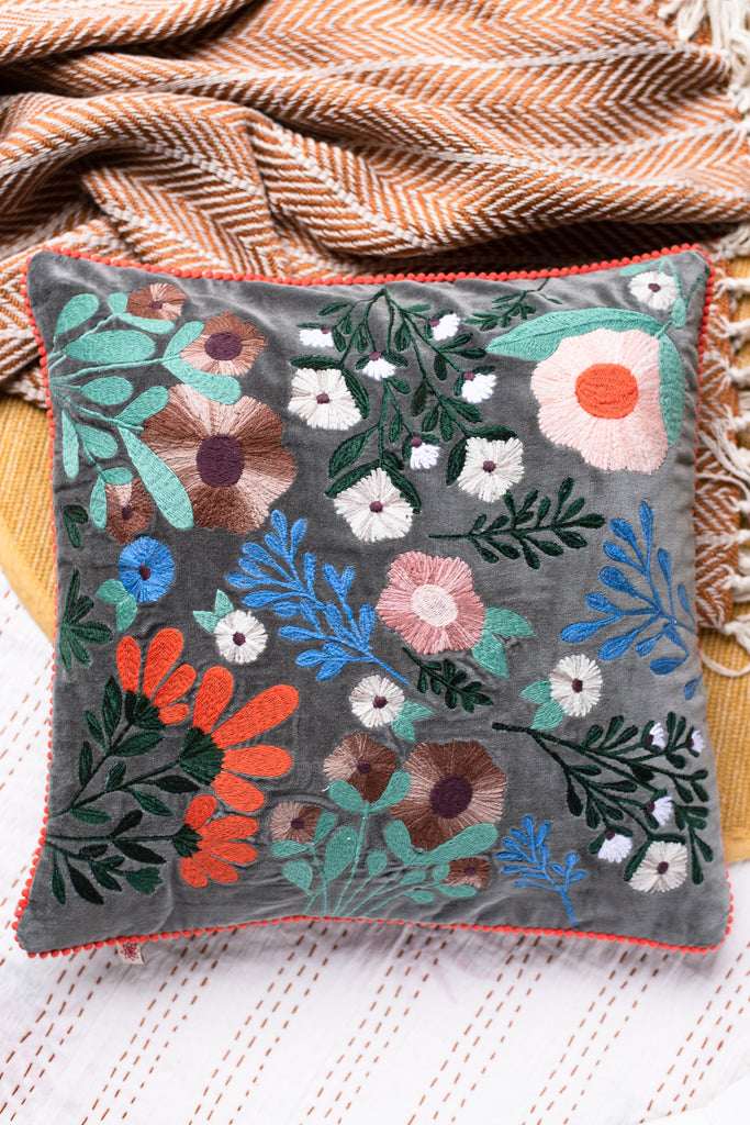Grey Floral Embroidered Cotton Cushion Cover
