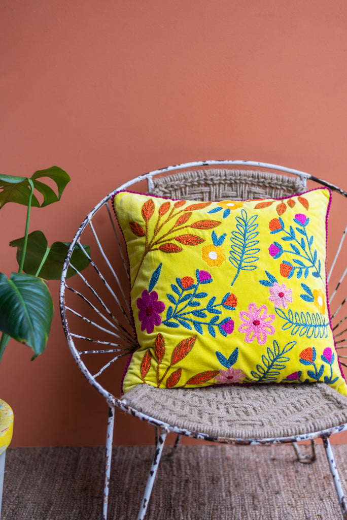 Yellow Floral Embroidered Cotton Cushion Cover