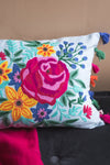 Floral Embroidered Cushion Cover with Tassels