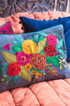 Recycled Denim Embroidered Cushion Cover