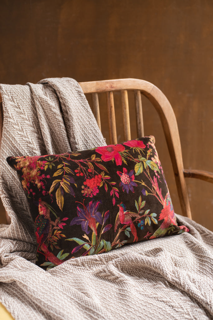 Chocolate Bird Of Paradise Velvet Cushion Cover