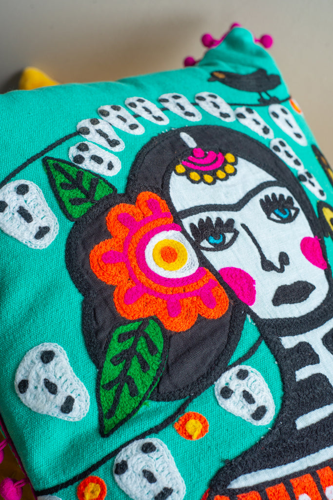 Frida Kahlo Day of The Dead Rectangular Cushion Cover