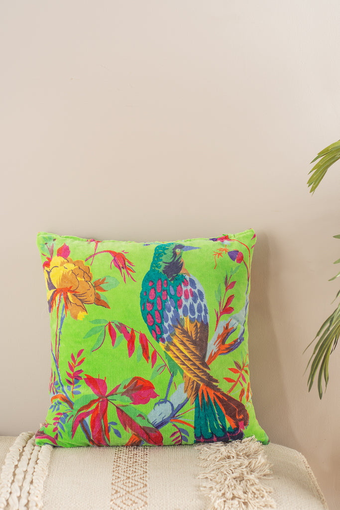 Bright Green Bird of Paradise Cotton Velvet Cushion Cover