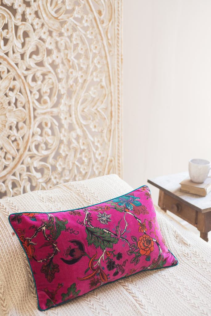 Purple Orchid Floral Cotton Velvet Cushion Cover