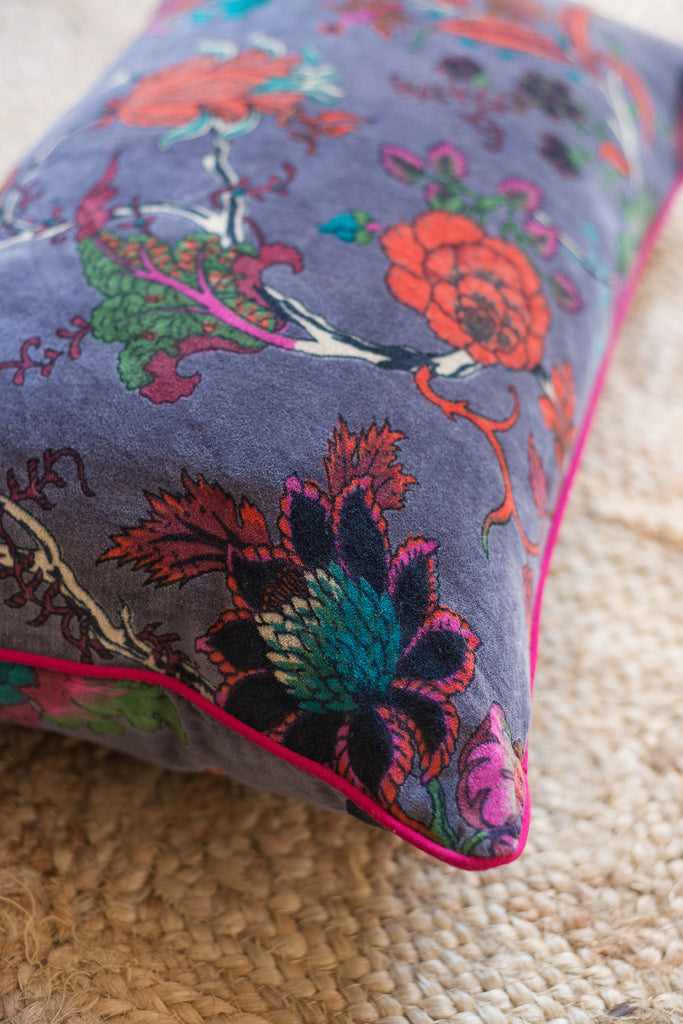 Black Plum Floral Cotton Velvet Cushion Cover
