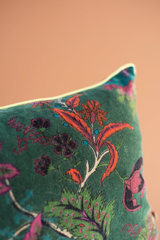 Bayberry Green Floral Cotton Velvet Cushion Cover