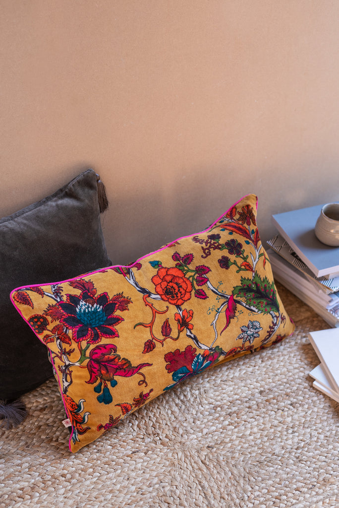 Mustard Floral Cotton Velvet Cushion Cover