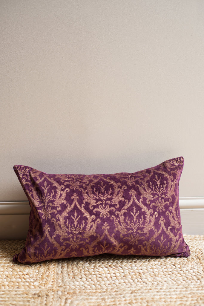 Dark Purple Gold Damask Cotton Velvet Cushion Cover