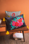 Embroidered Roses Cushion Cover with Yellow Tassels