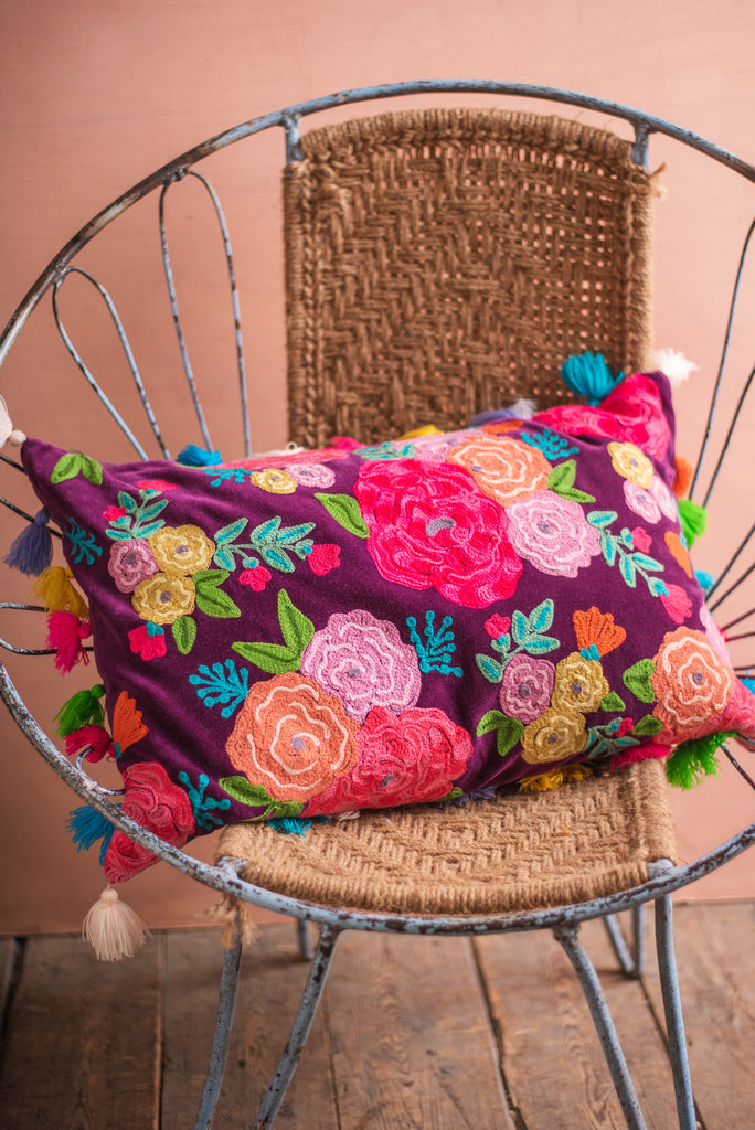 Embroidered Roses Cushion with Multi Coloured Tassels