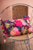 Embroidered Roses Filled Cushion with Multi Coloured Tassels