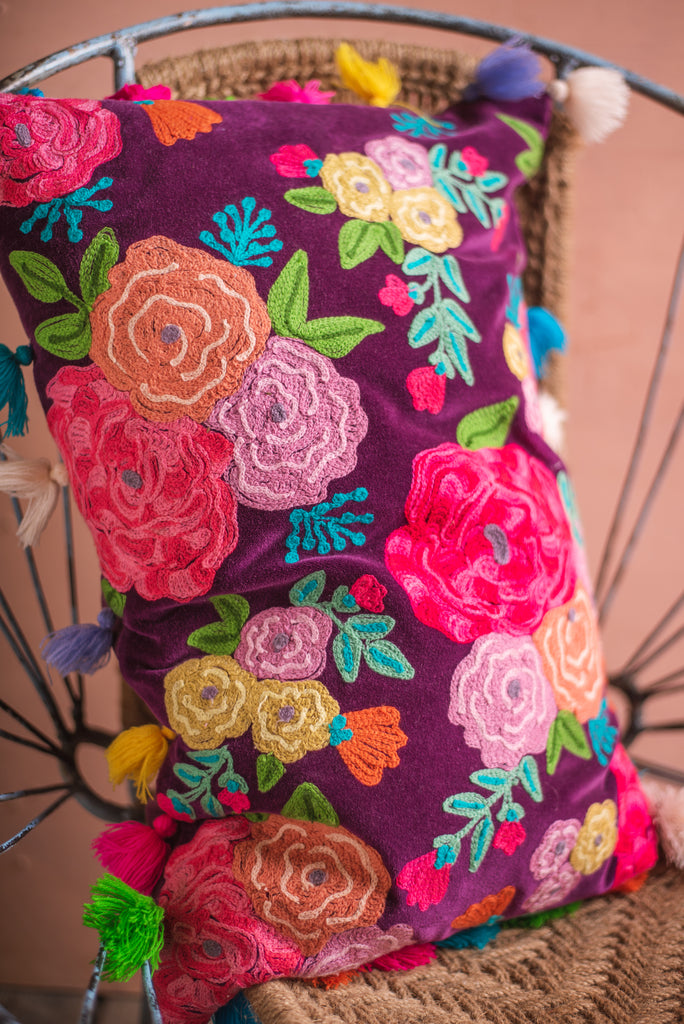 Embroidered Roses Cushion Cover with Multi Coloured Tassels