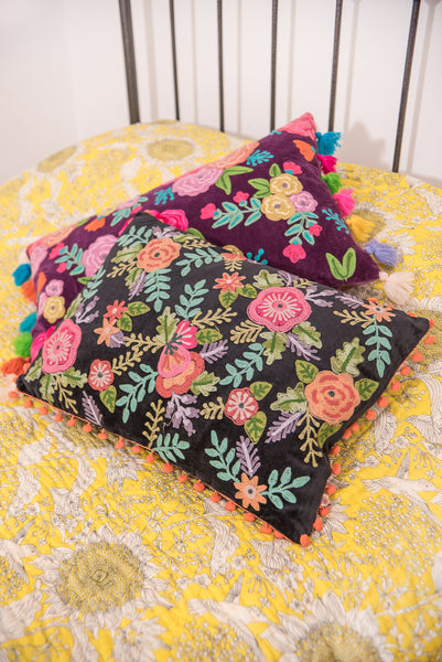 Embroidered Floral Filled Cushion with Large Orange Pom Poms