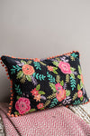 Embroidered Floral Cushion Cover with Orange Pom Poms