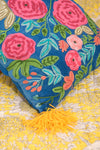 Embroidered Roses Cushion Cover with Thick Wool Mustard Tassels