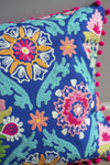 Blue Folk Art Embroidered Cotton Cushion Cover