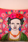 Red Halo Embroidered Cotton Cushion Cover
