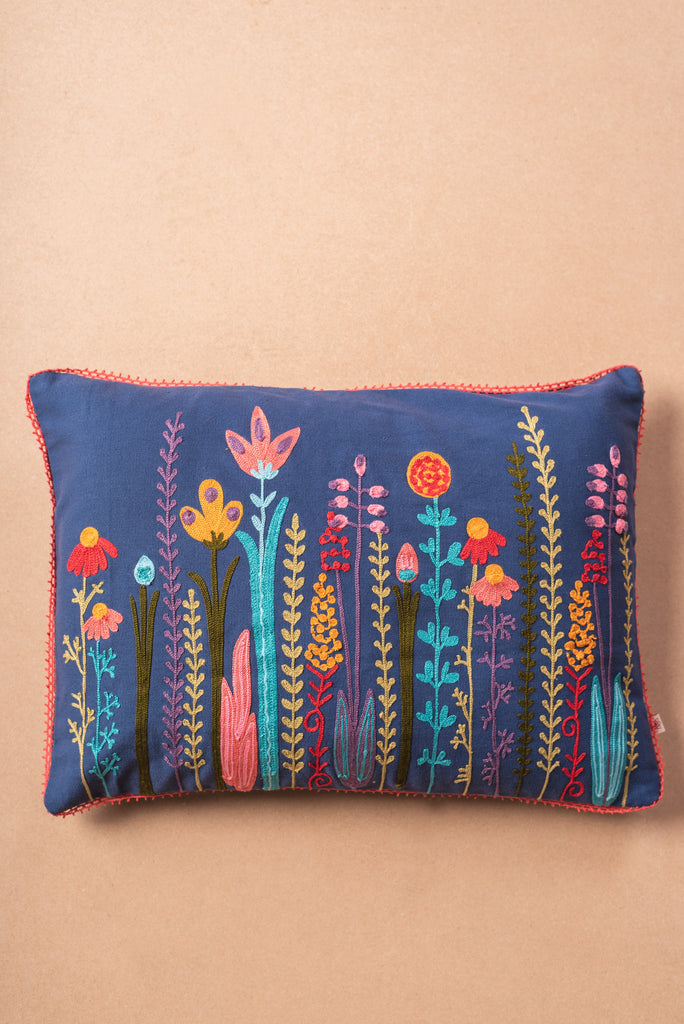 Perennials embroidered cotton Cushion Cover