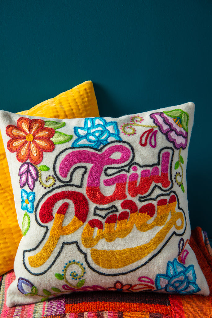 Embroidered Girl Power Wool Cushion Cover