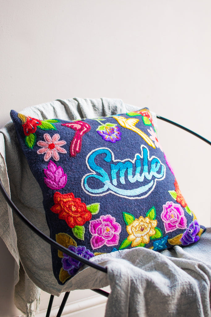 Embroidered Smile Wool Cushion Cover