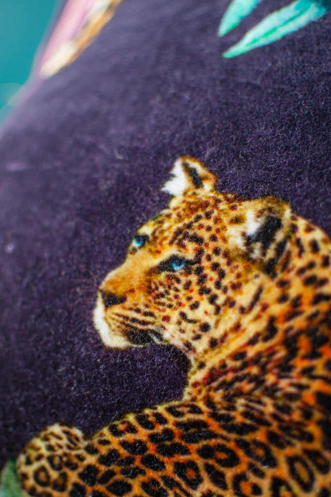 Tropical Leopard Cotton Cushion Cover