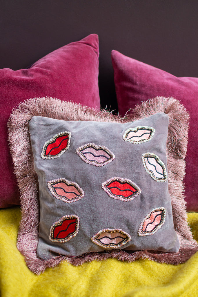 Lips Cotton Cushion Cover