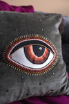 Embroidered Eye Cotton Cushion Cover