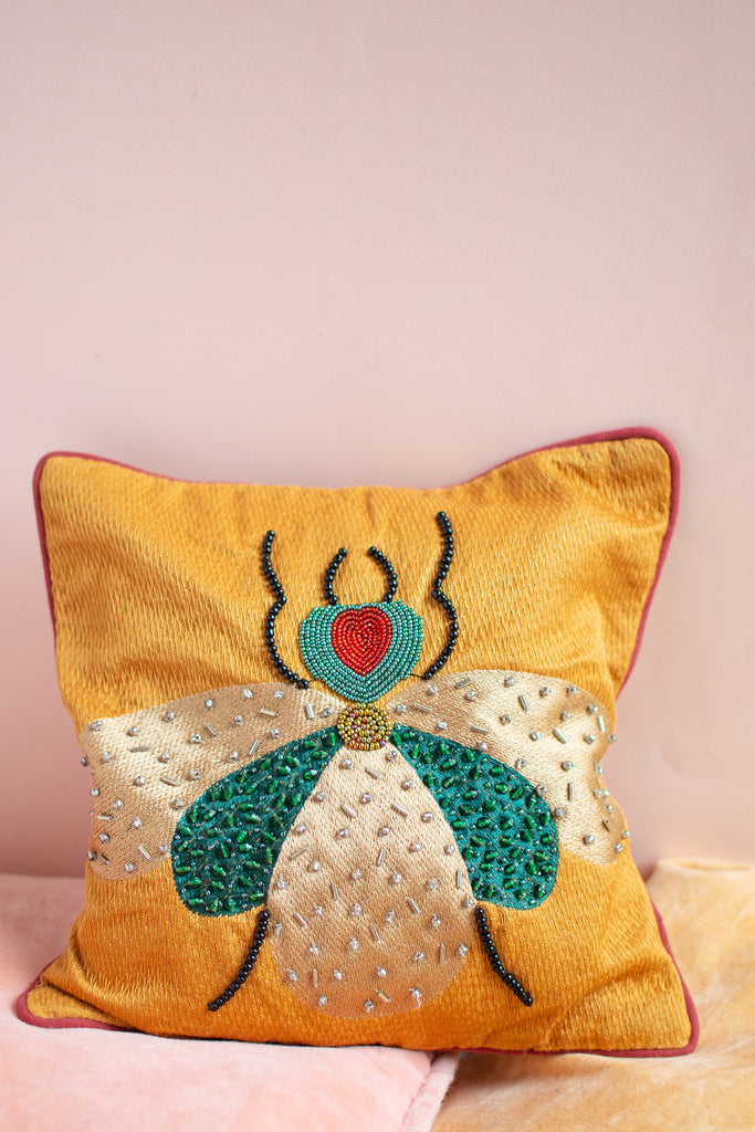 Embroidered Fly Cotton Cushion Cover