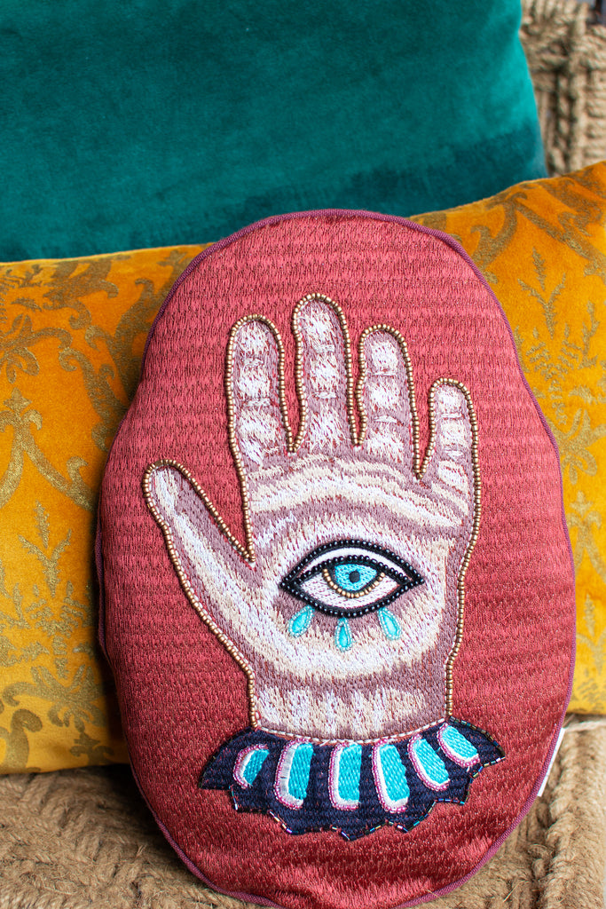 Embroidered Hamsa Cotton Cushion Cover