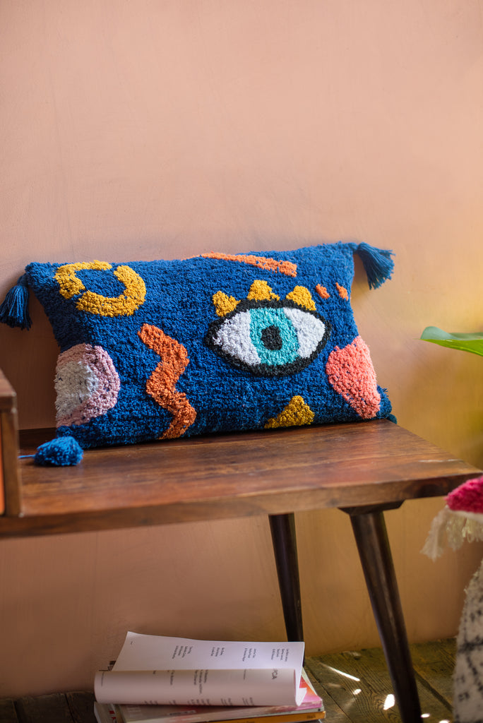Blue Eye Tufted 100% Recycled Cotton Cushion Cover