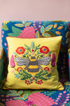 Embroidered Bee Cotton Cushion Cover