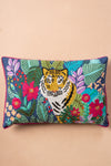 Embroidered Tiger Cotton Cushion Cover