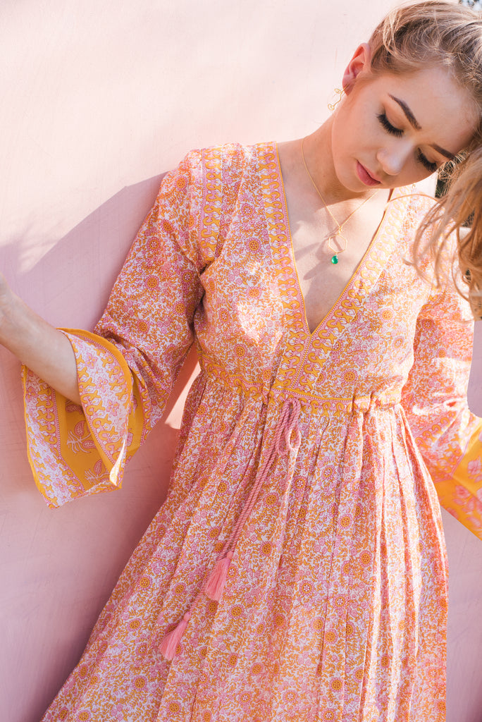 Primrose Orange and Pink Cotton Floral Dress