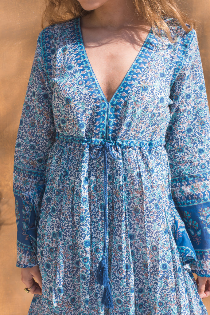 Veronica Blue Cotton Floral Dress