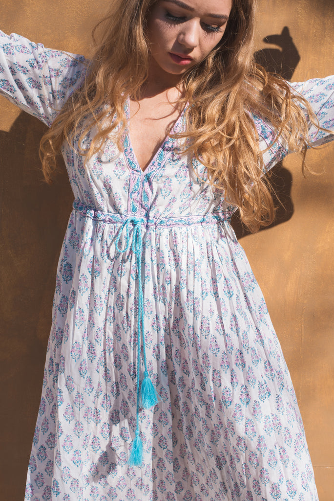Wisteria Lilac and Turquoise Cotton Floral Dress
